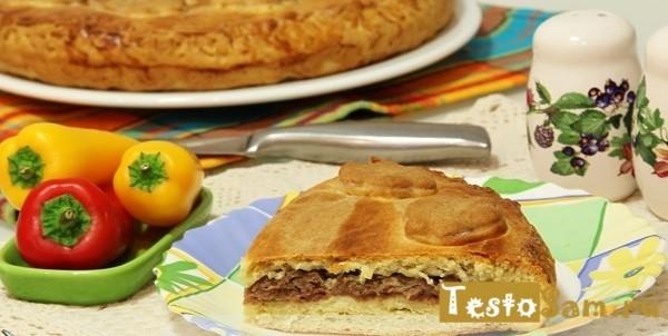 Рецепт мясного пирога из песочного теста